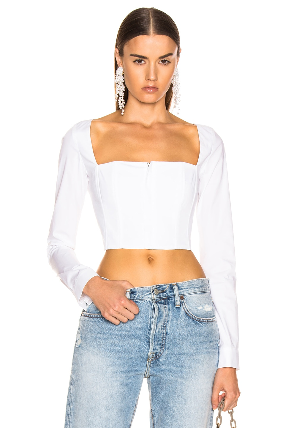 Image 1 of fleur du mal Straight Neck Long Sleeve Top in Ivory