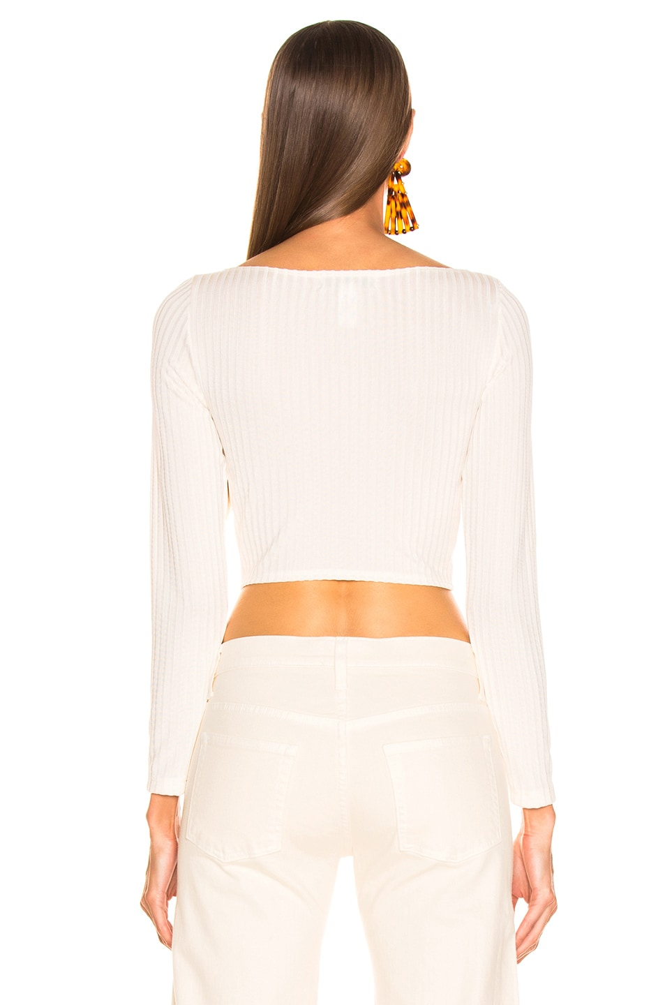 Image 3 of fleur du mal Long Sleeve Knit Bra Top in Ivory