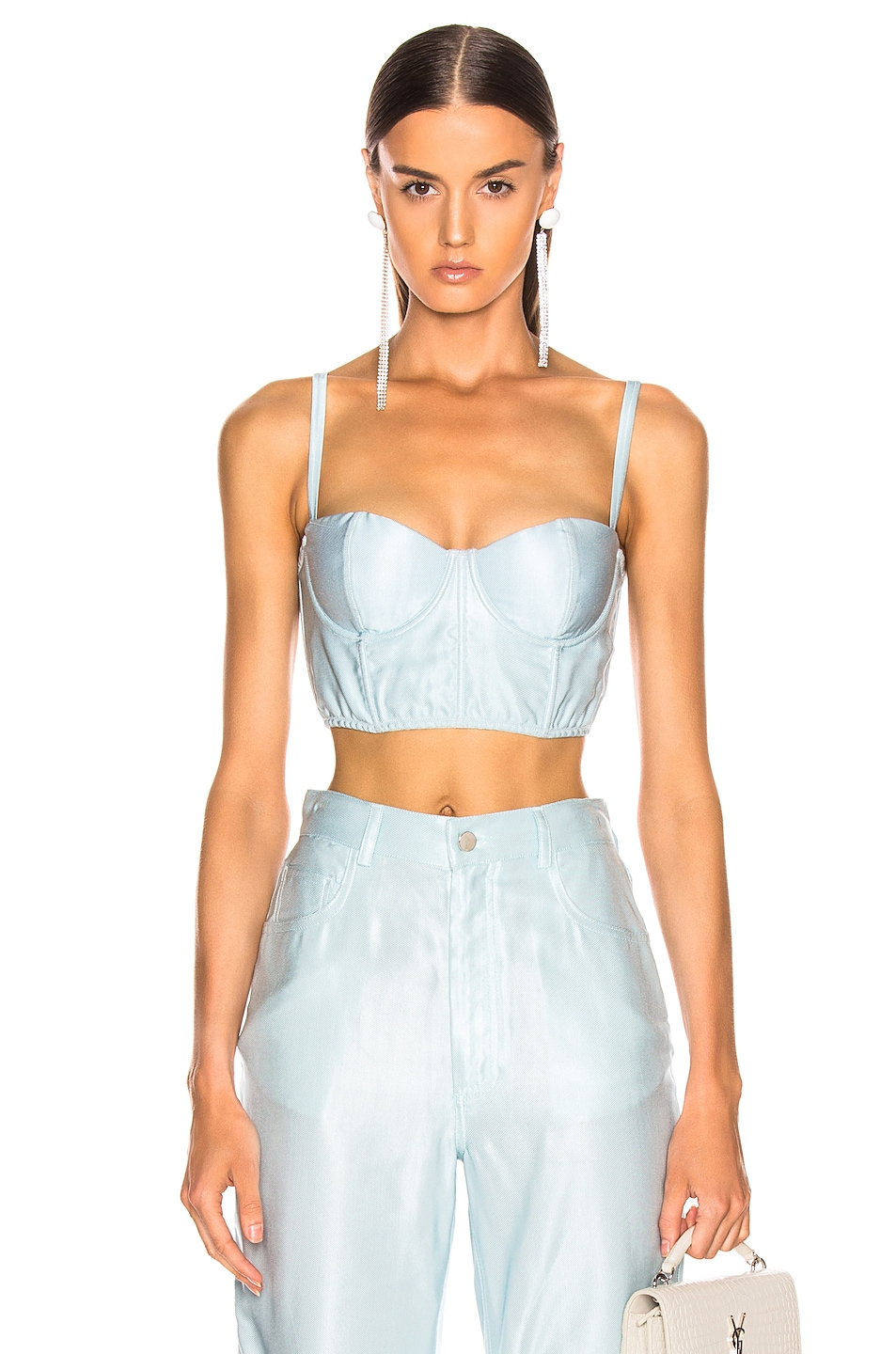 Image 1 of fleur du mal Twill Bustier Top in Whisper Mint