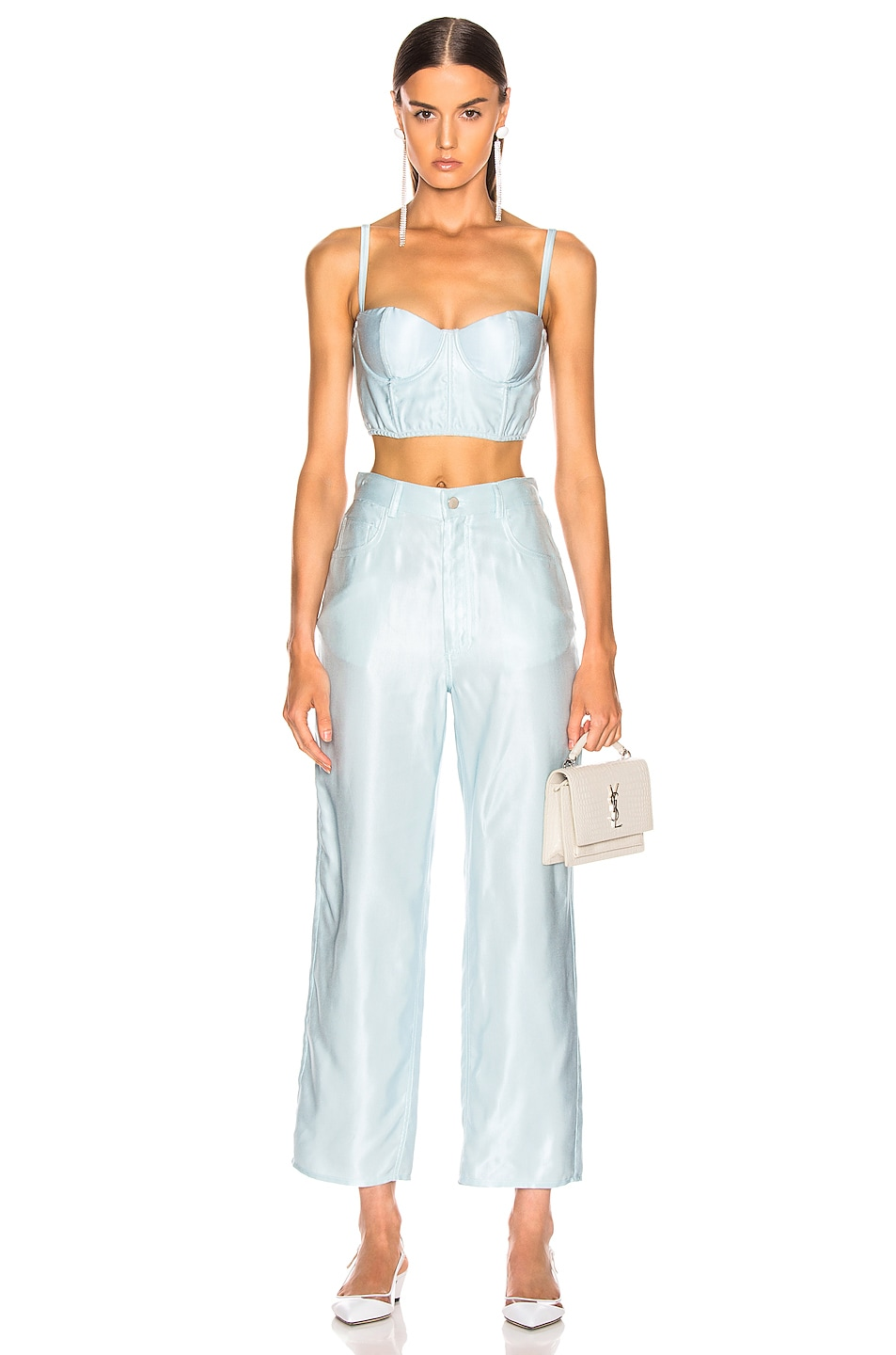 Image 4 of fleur du mal Twill Bustier Top in Whisper Mint