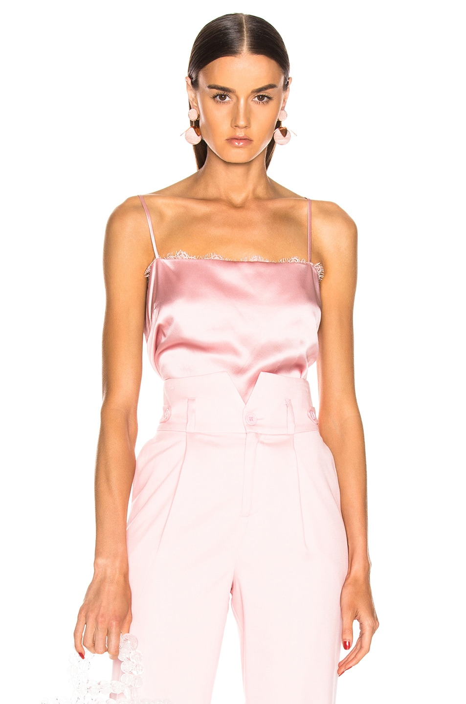 Image 1 of fleur du mal Lace Straight Neck Cami in Coral Blush