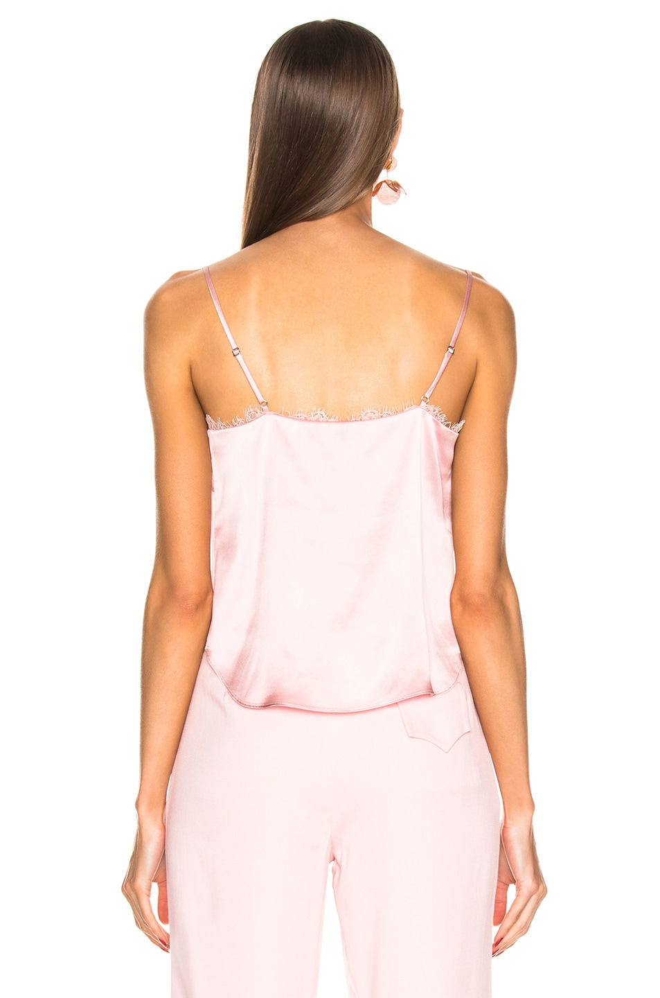 Image 3 of fleur du mal Lace Straight Neck Cami in Coral Blush