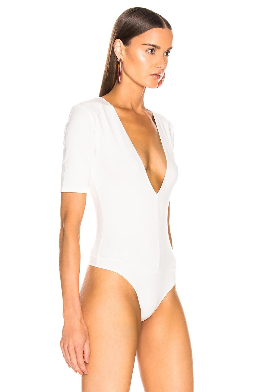 Image 3 of fleur du mal Deep V Shoulder Pad Bodysuit in Ivory