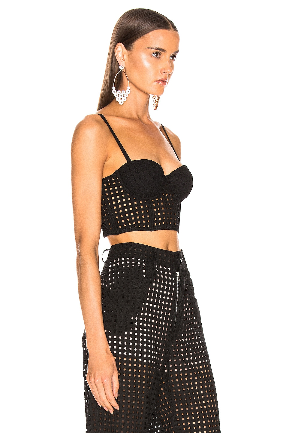 Image 2 of fleur du mal Eyelet Balconette Bustier Top in Black