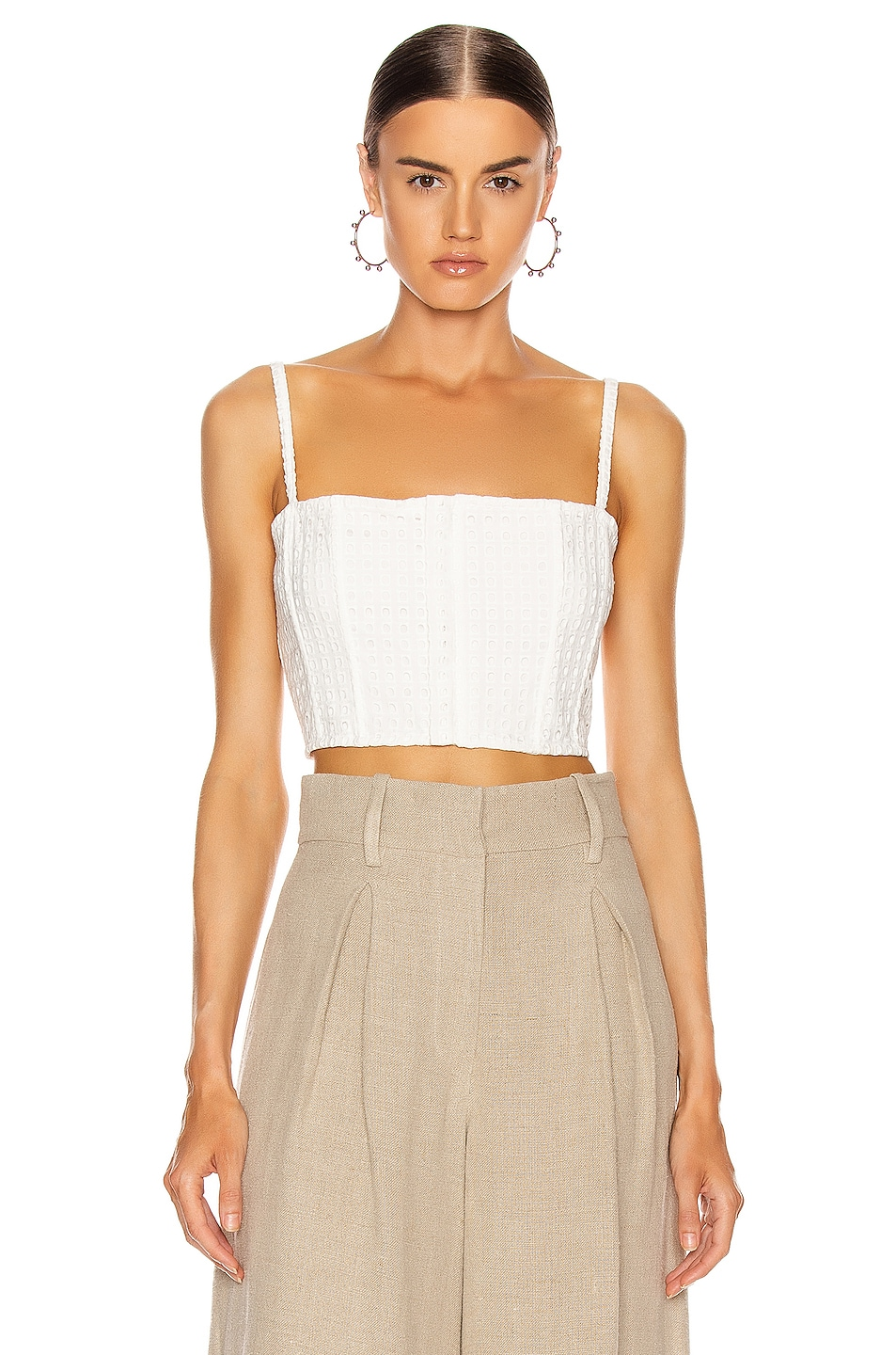 Image 1 of fleur du mal Eyelet Straight Across Corset Top in Blanc