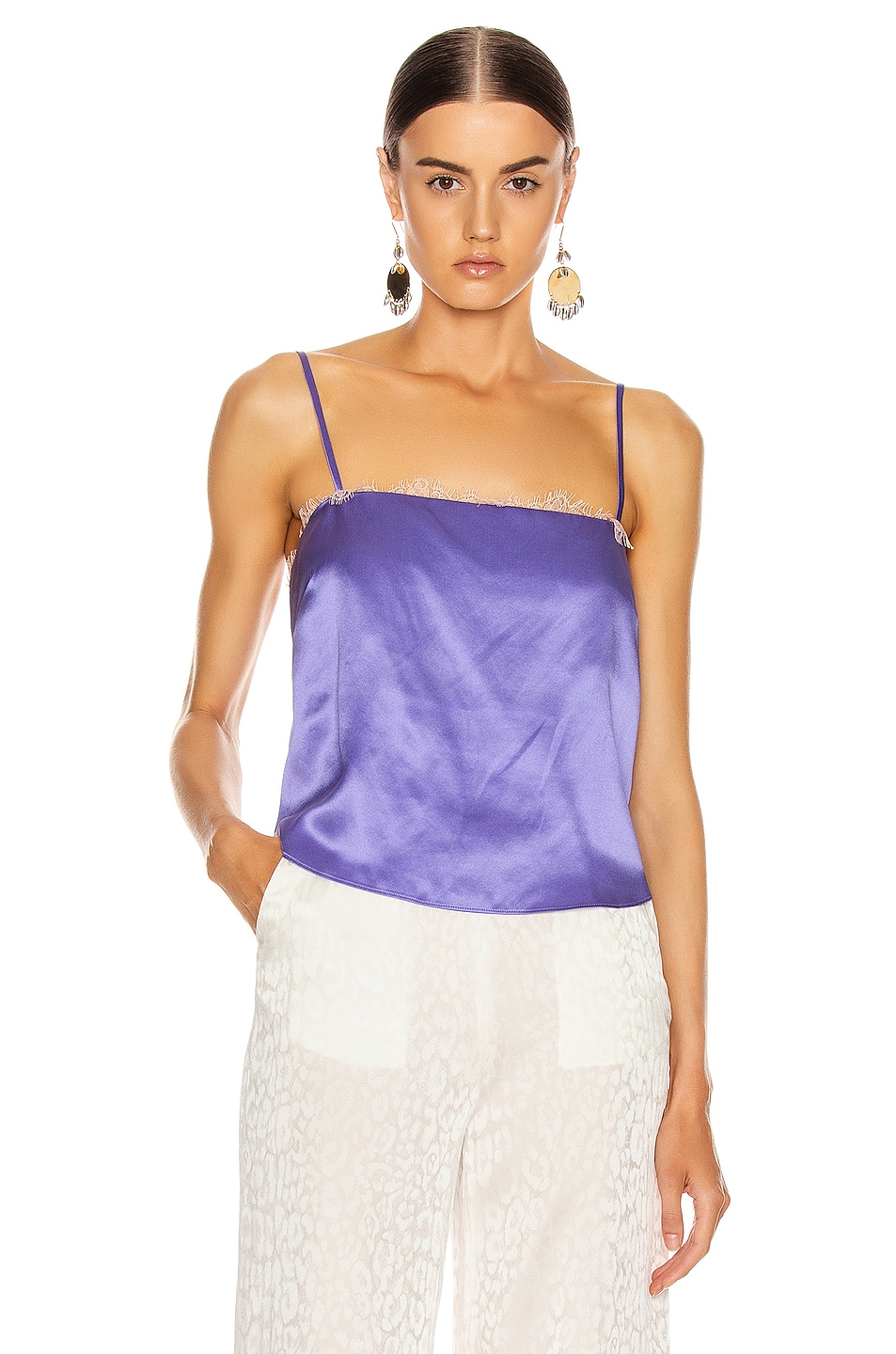 Image 1 of fleur du mal Straight Neck Cami in Amethyst