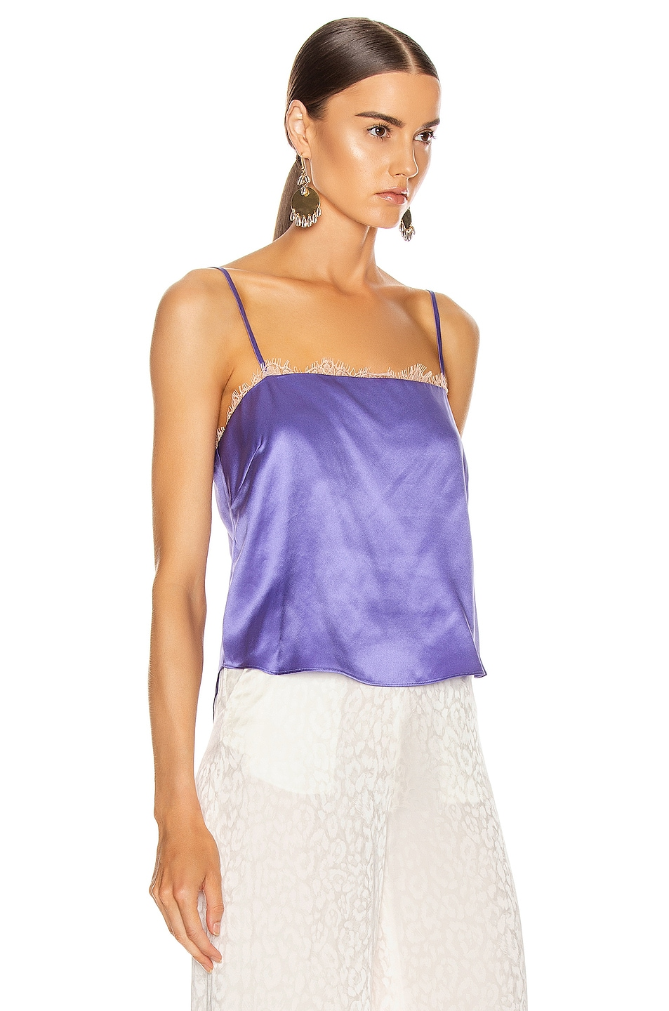 Image 2 of fleur du mal Straight Neck Cami in Amethyst