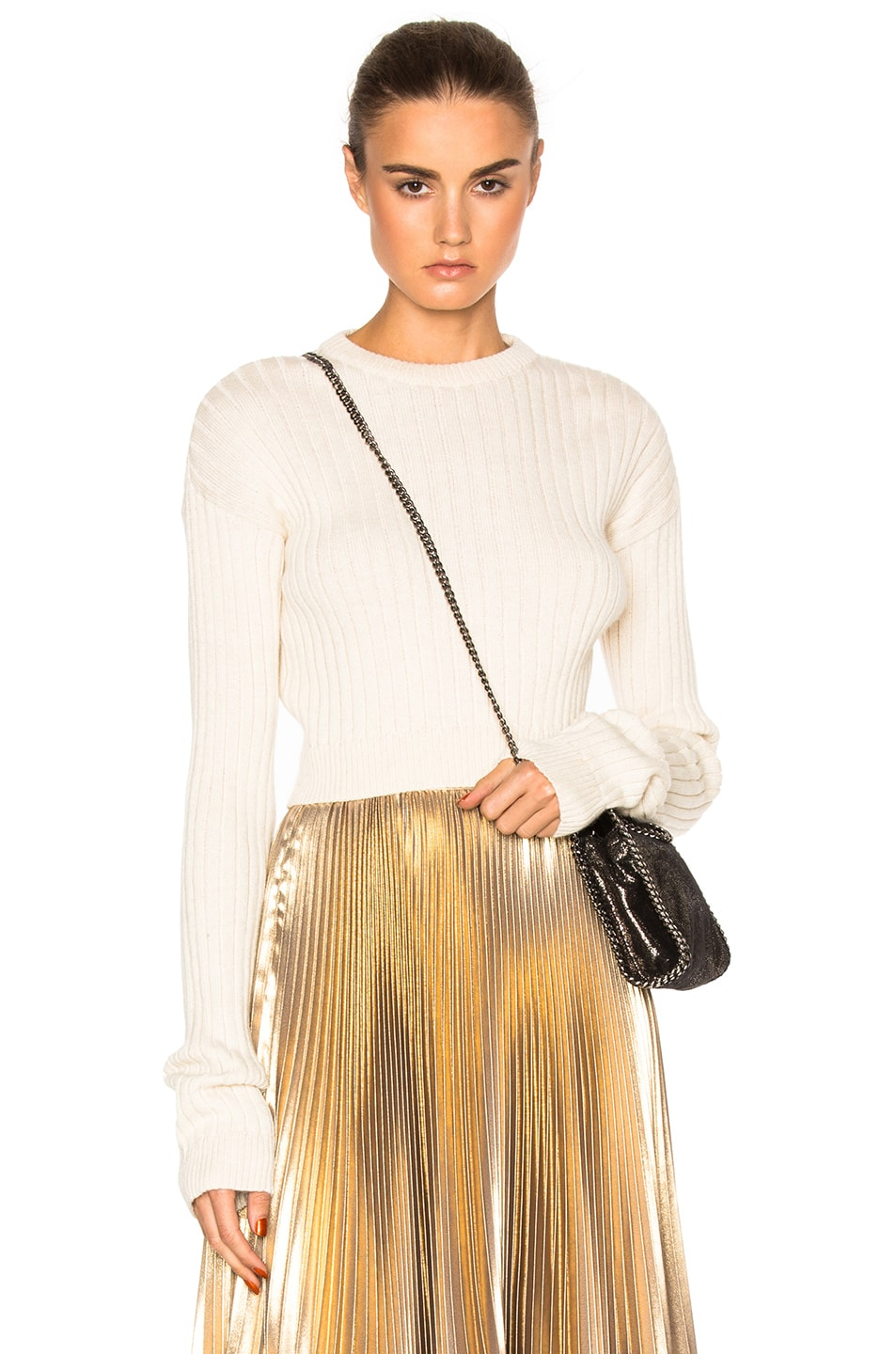 Image 1 of Frankie Cropped Sweater in Ivory