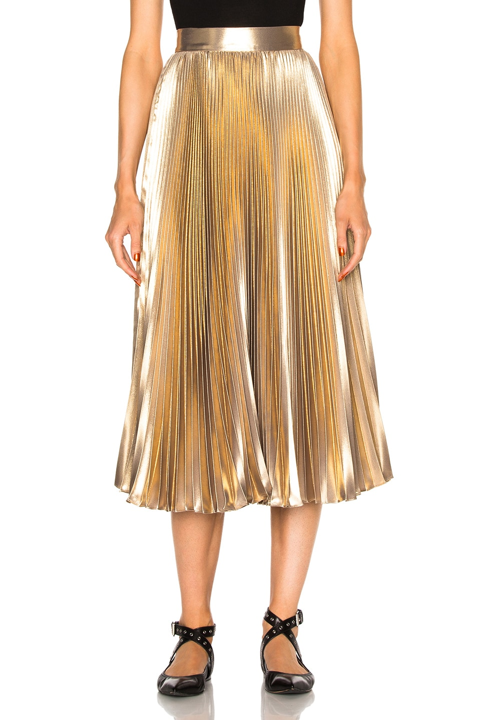 Image 1 of Frankie Pleated Skirt in Light Gold