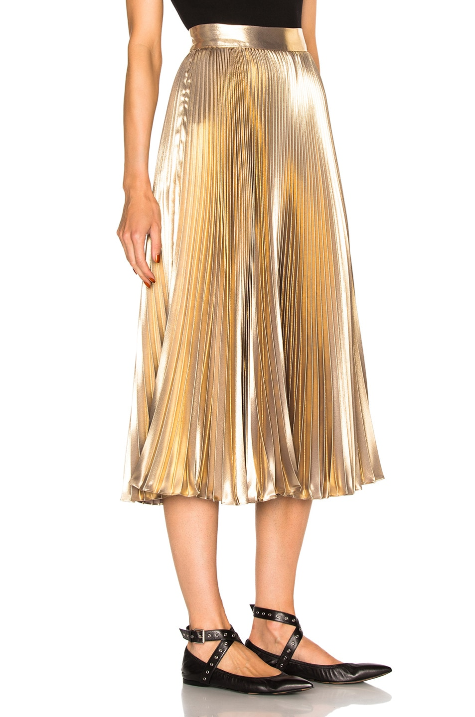 Image 3 of Frankie Pleated Skirt in Light Gold