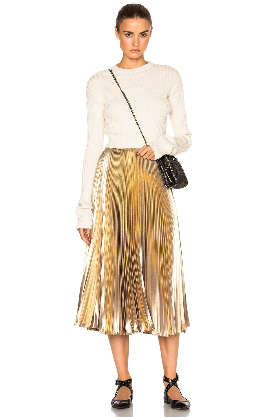 Image 5 of Frankie Pleated Skirt in Light Gold
