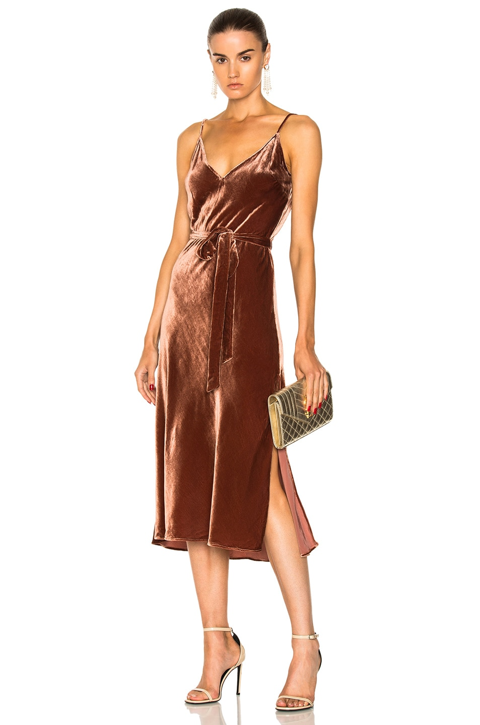 Image 1 of FRAME Denim Velvet Slip Dress in Spice