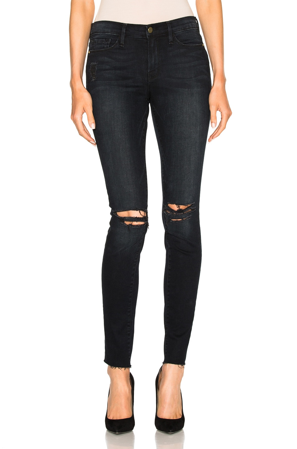 Image 1 of FRAME Denim Le Skinny De Jeanne Unfinished Edge in Imperial