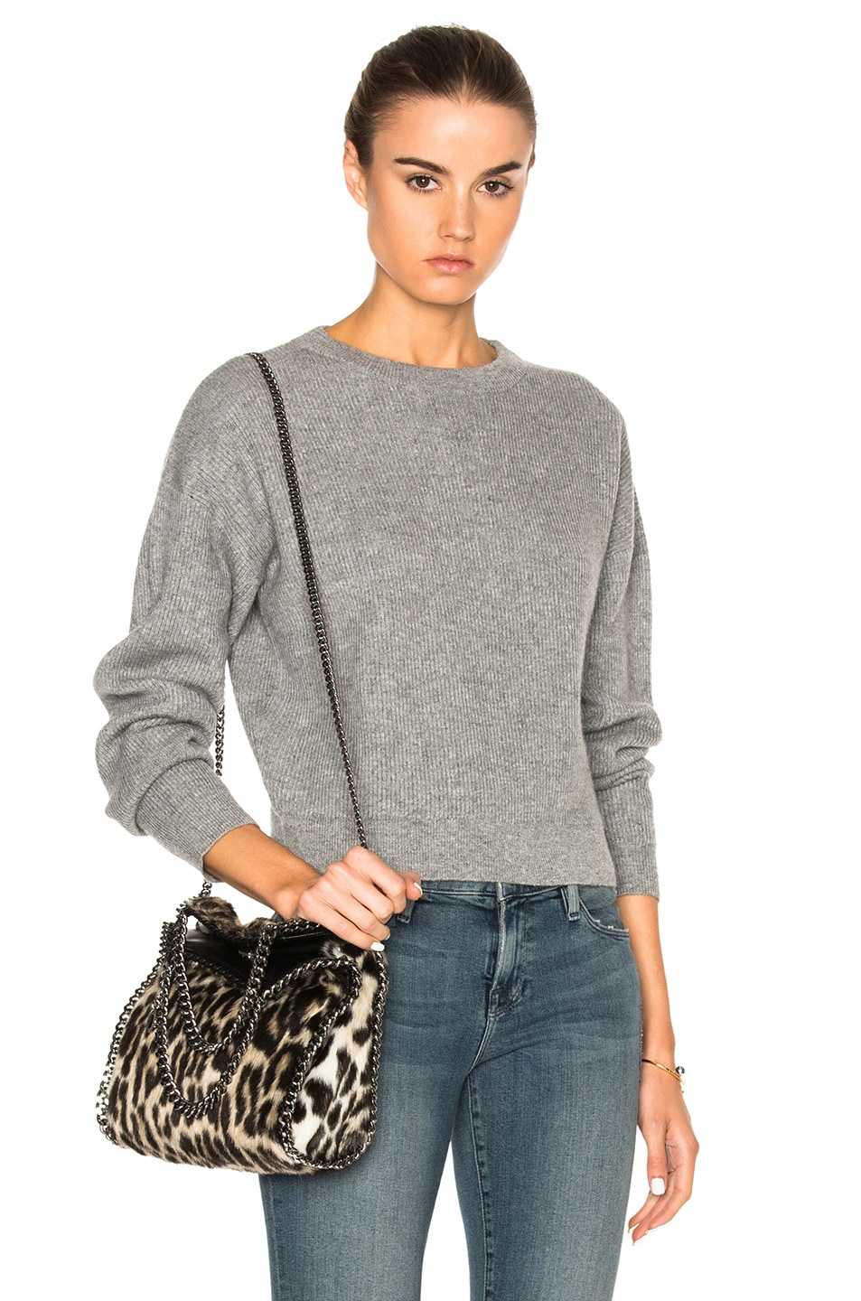 Image 1 of FRAME Denim Cropped Sweater in Grey