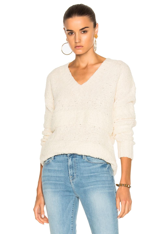 1757590f73698 Image 1 of FRAME Denim Slouchy V-Neck Stripe Sweater in Off White