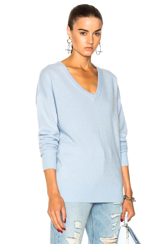 FRAME Denim Oversized V Neck Sweater in Powder Blue | FWRD