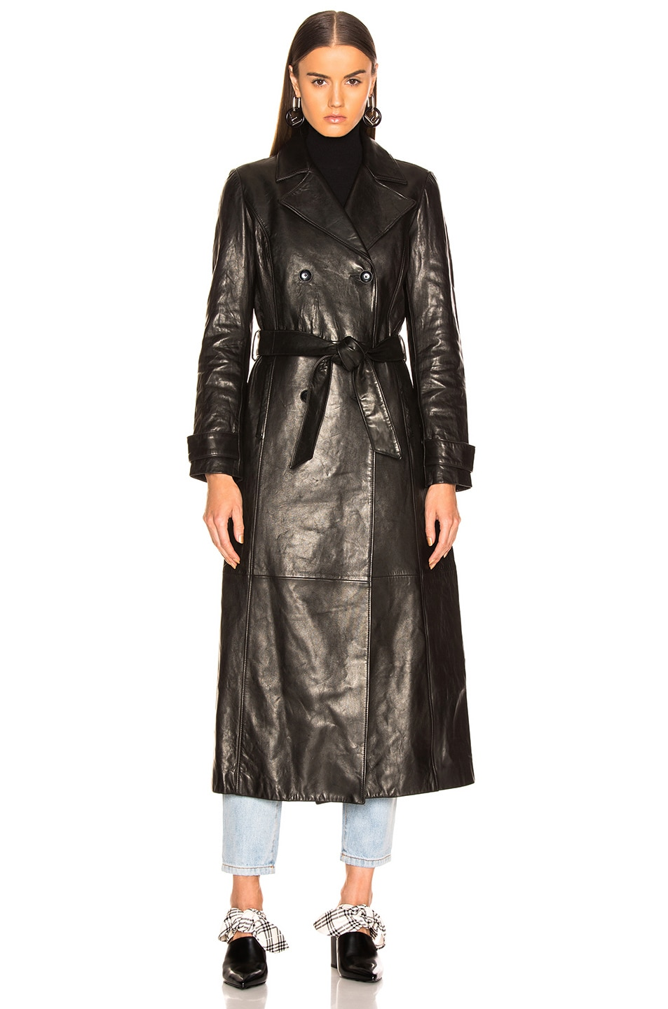 Image 2 of FRAME for FWRD Leather Trench Coat in Noir