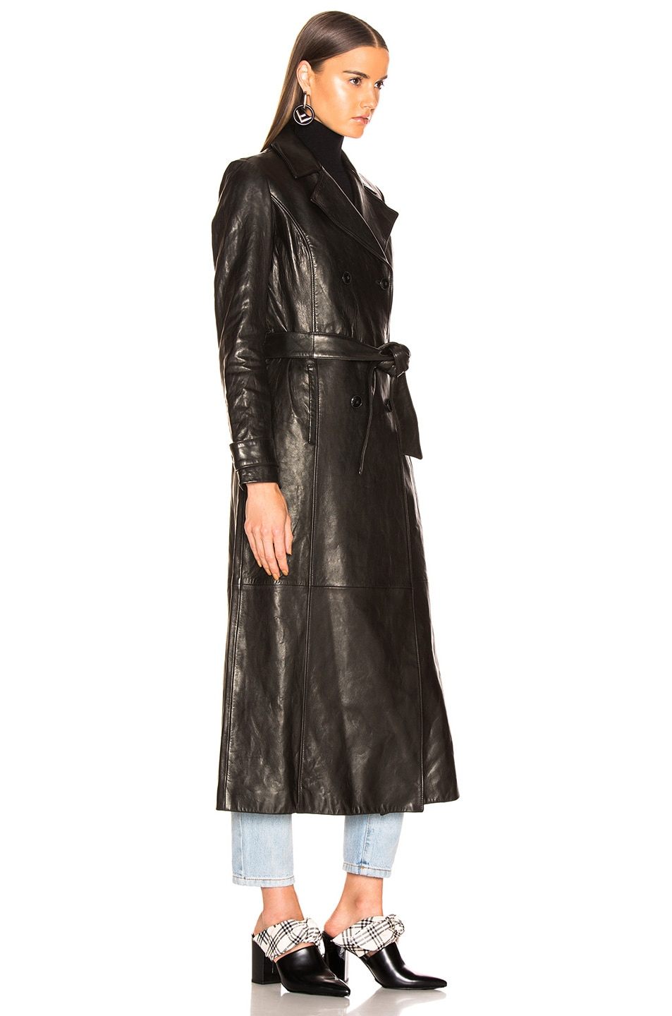 Image 3 of FRAME for FWRD Leather Trench Coat in Noir