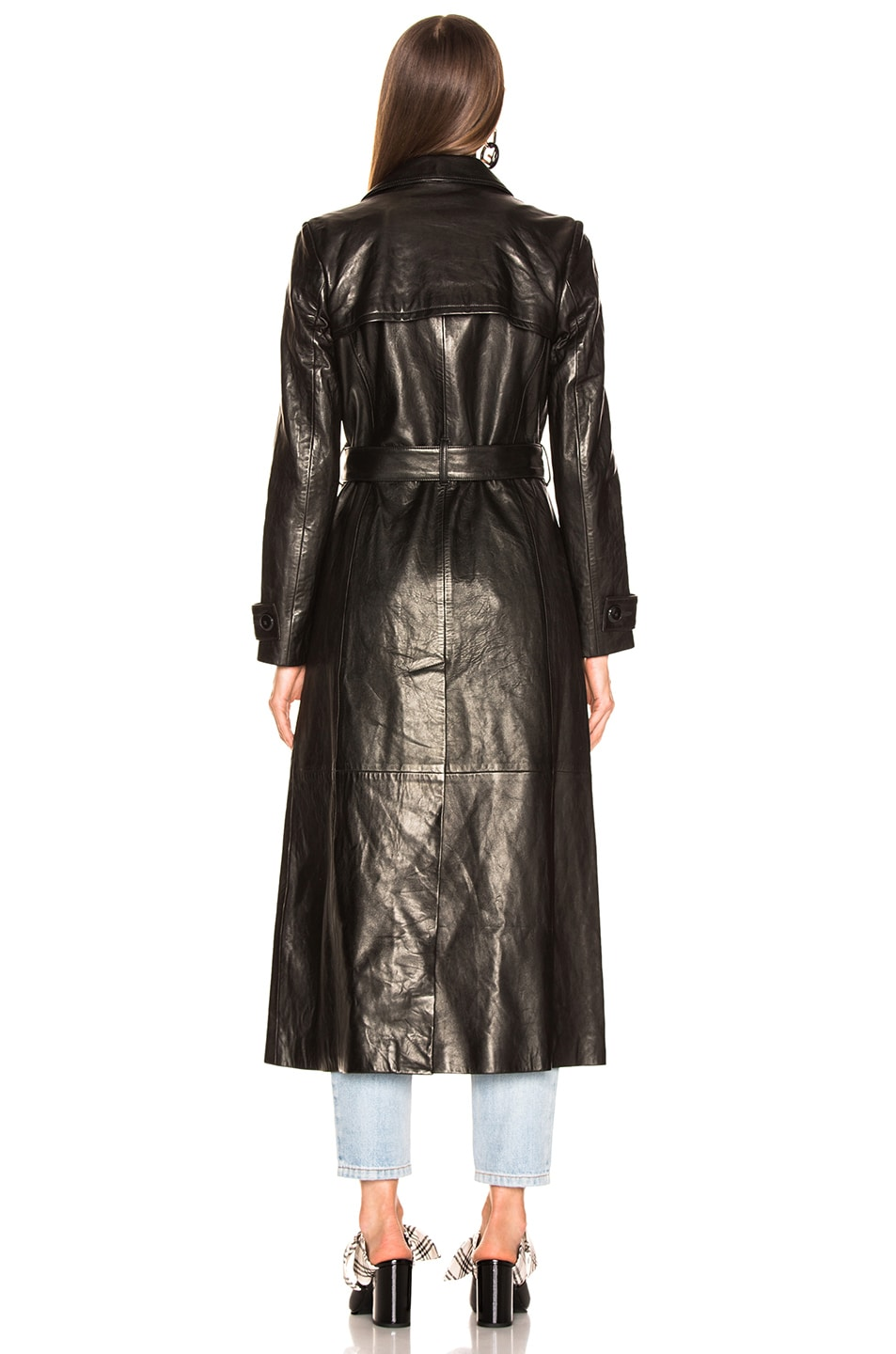 Image 4 of FRAME for FWRD Leather Trench Coat in Noir