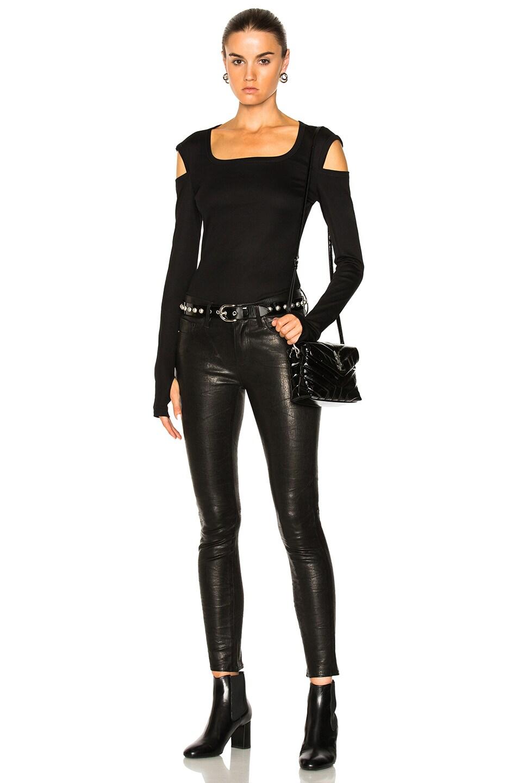 Image 4 of FRAME Denim Leather Le Skinny De Jeanne in Washed Black