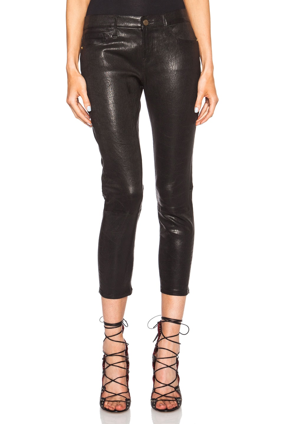 FRAME Denim Le Garcon Leather Pant in Washed Black | FWRD
