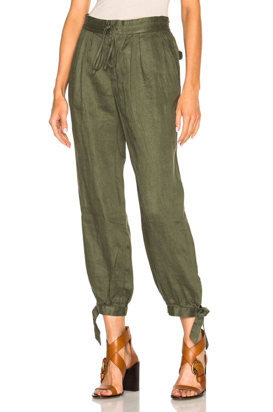 Image 1 of FRAME Denim Voluminous Drawstring Pant in Army