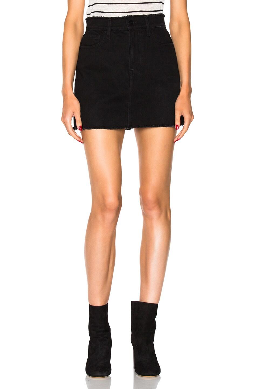 e29117111 Image 1 of FRAME Denim Le Mini Skirt Frayed in Black Forest
