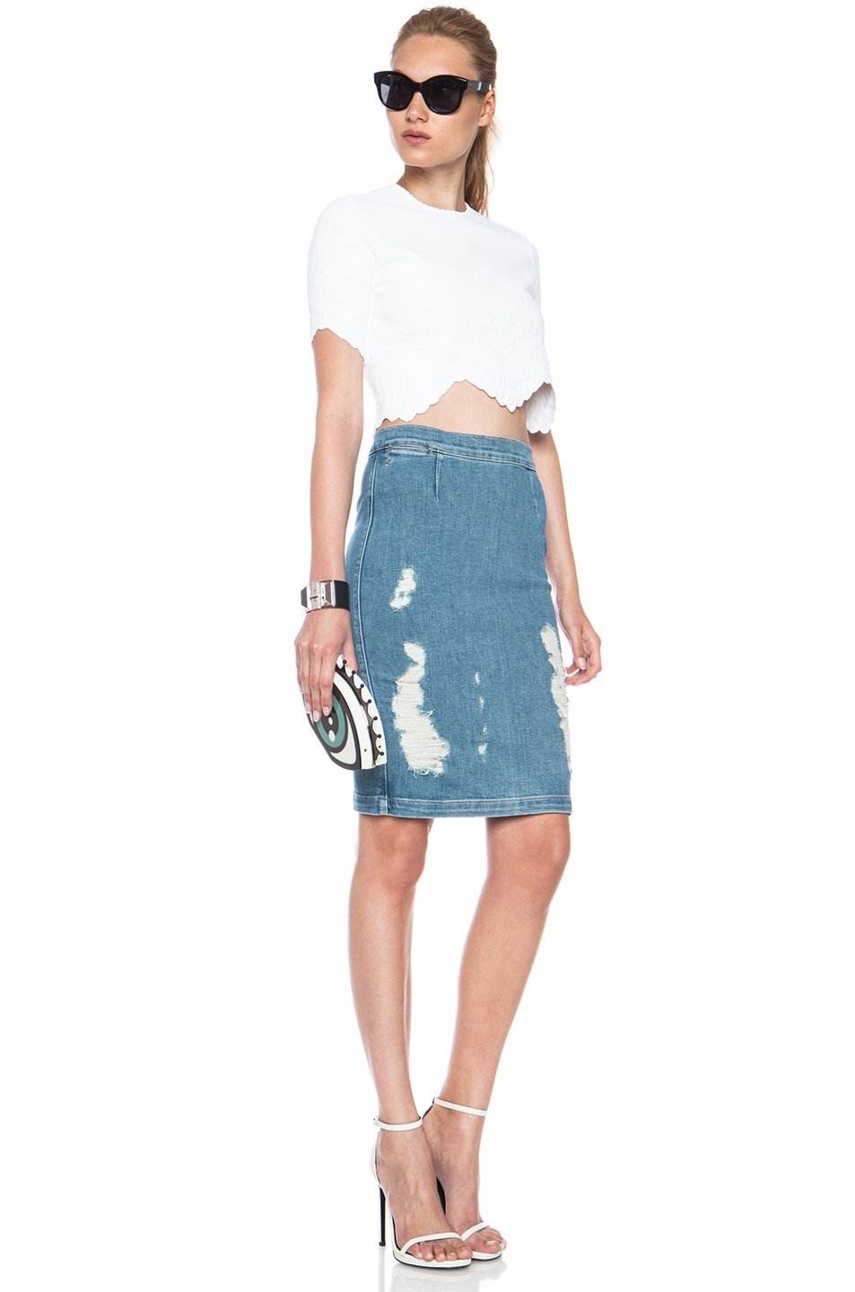 Image 5 of FRAME Denim Le High Pencil Cotton-Blend Skirt in Carlyle