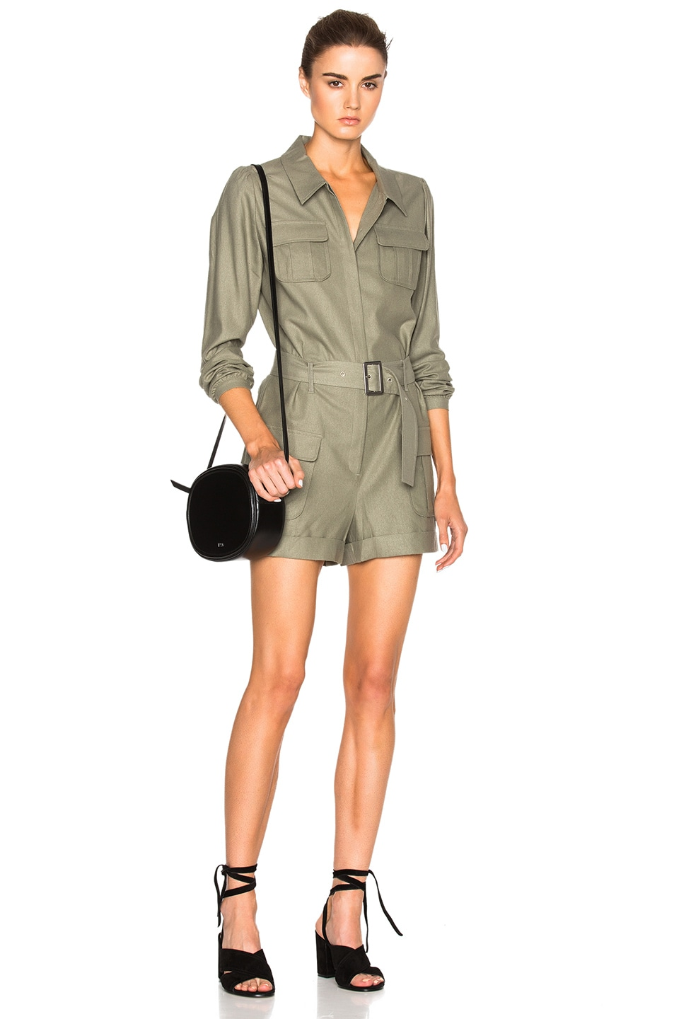 Image 1 of FRAME Denim Romper in Olive