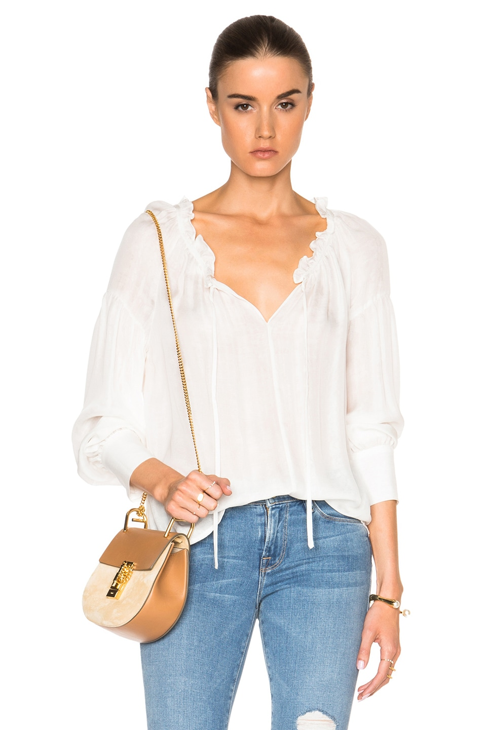 Image 1 of FRAME Denim Ruffle Drawcord Top in Off White