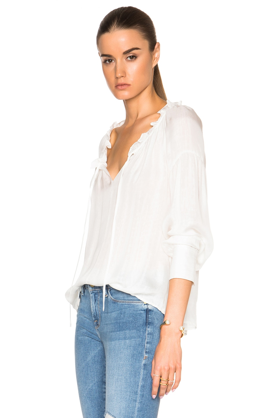 Image 2 of FRAME Denim Ruffle Drawcord Top in Off White