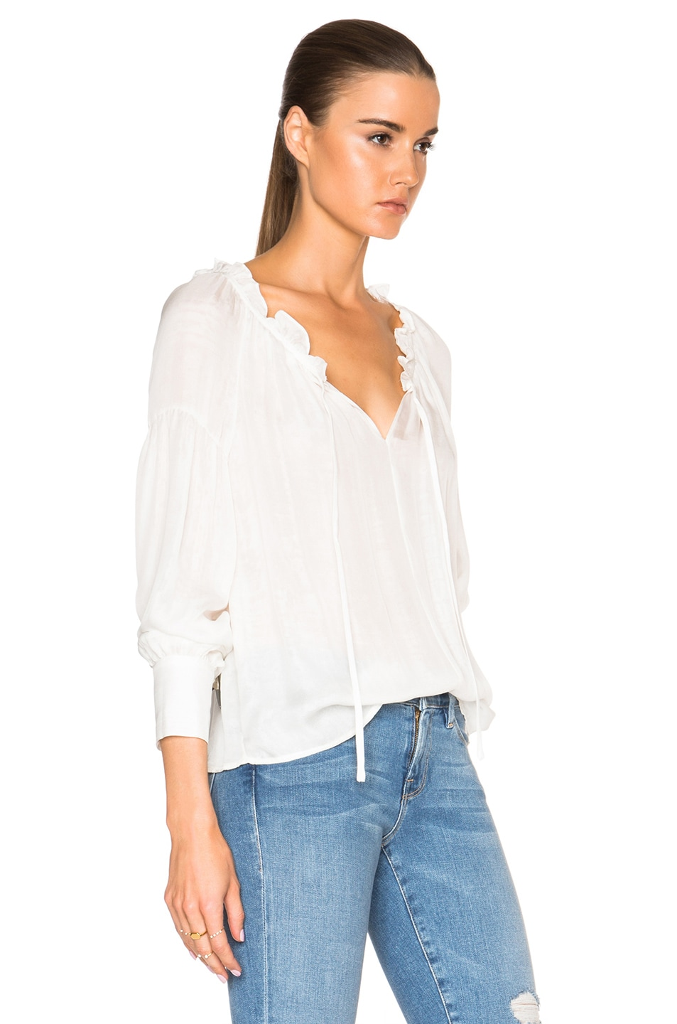 Image 3 of FRAME Denim Ruffle Drawcord Top in Off White