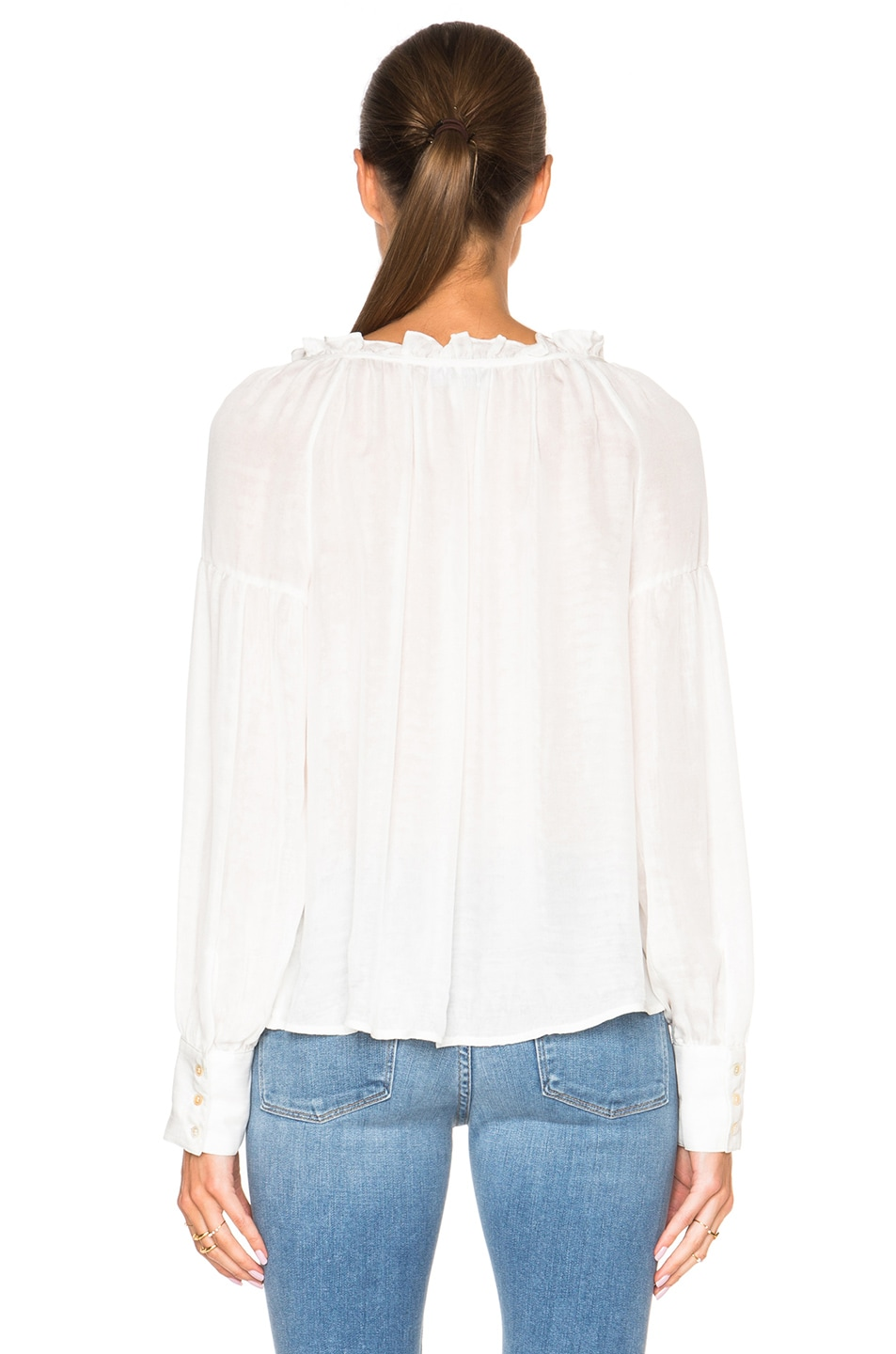 Image 4 of FRAME Denim Ruffle Drawcord Top in Off White