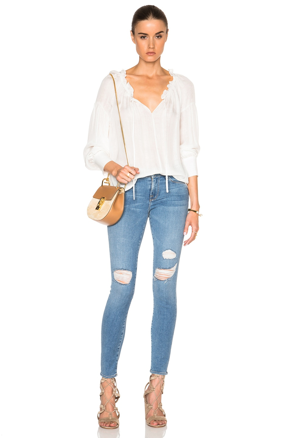 Image 5 of FRAME Denim Ruffle Drawcord Top in Off White