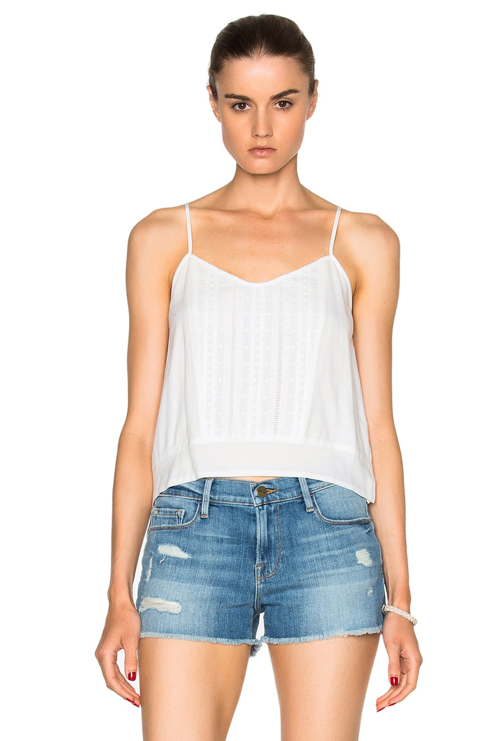 Image 1 of FRAME Denim Lace Cami Top in Blanc
