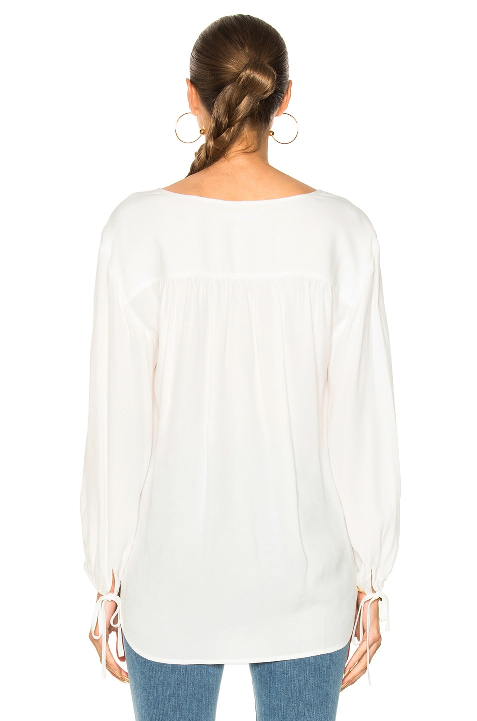 image 3 of frame denim crepe lace up shirt in off white