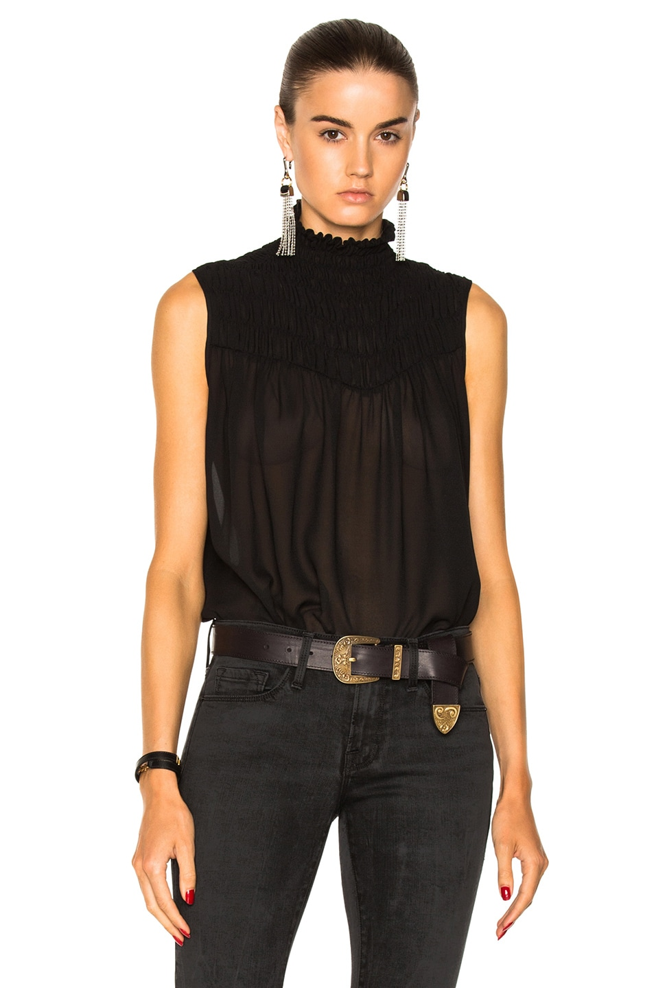 318bb84797d46 Image 1 of FRAME Denim Smocked Sleeveless Blouse in Noir