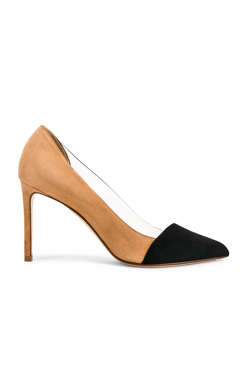 Image 1 of FRANCESCO RUSSO Two Tone PVC Heels in Black & Camel