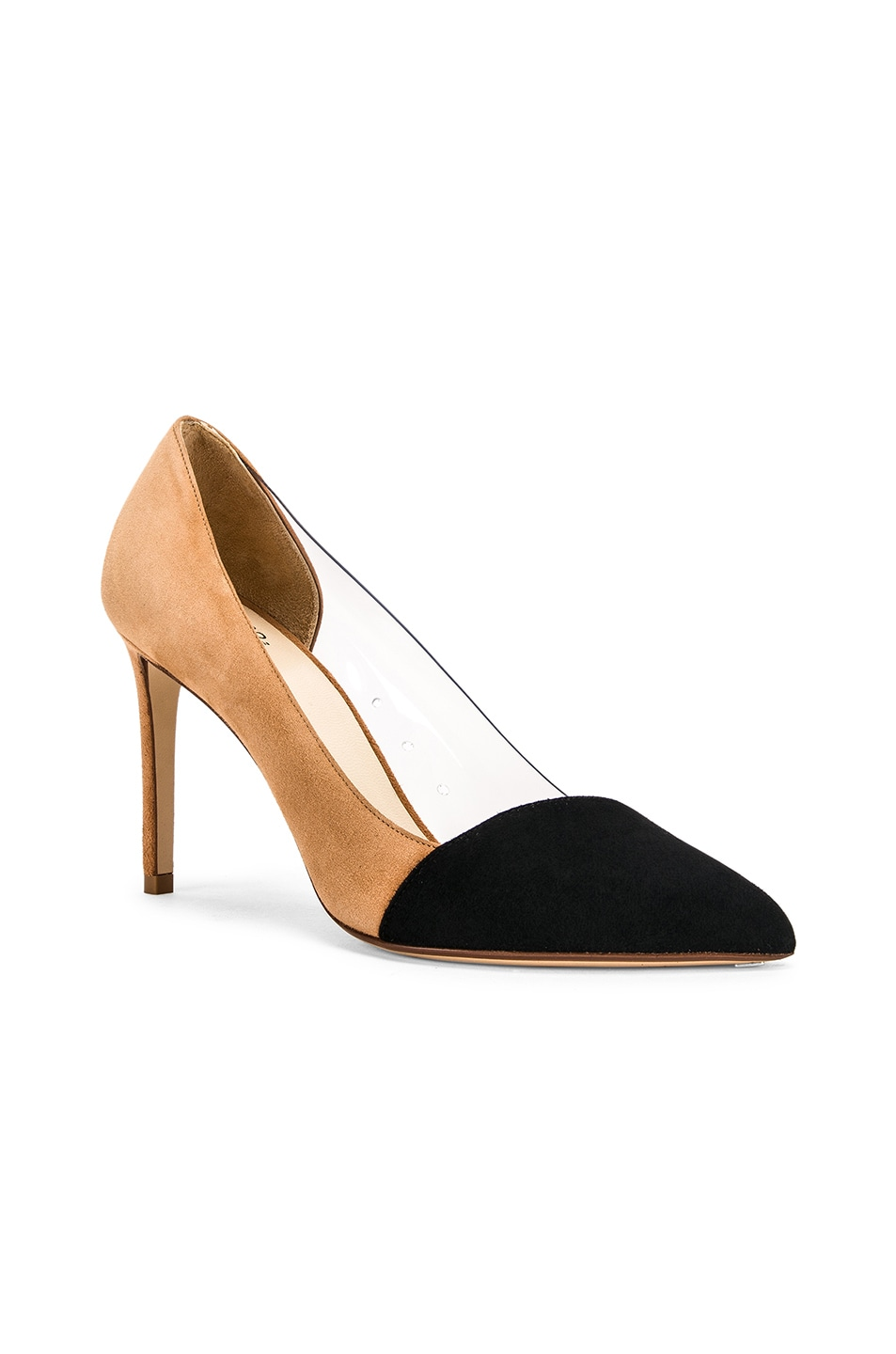 Image 2 of FRANCESCO RUSSO Two Tone PVC Heels in Black & Camel