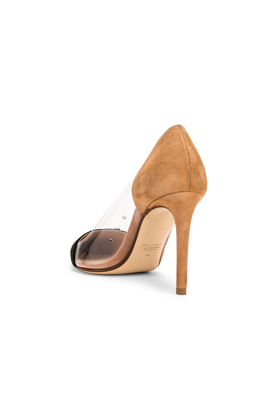Image 3 of FRANCESCO RUSSO Two Tone PVC Heels in Black & Camel