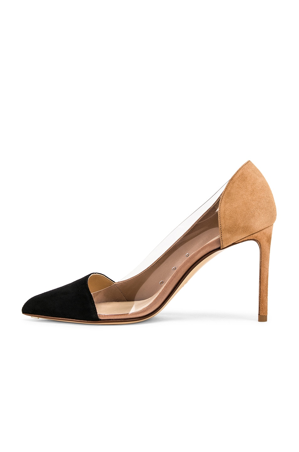 Image 5 of FRANCESCO RUSSO Two Tone PVC Heels in Black & Camel