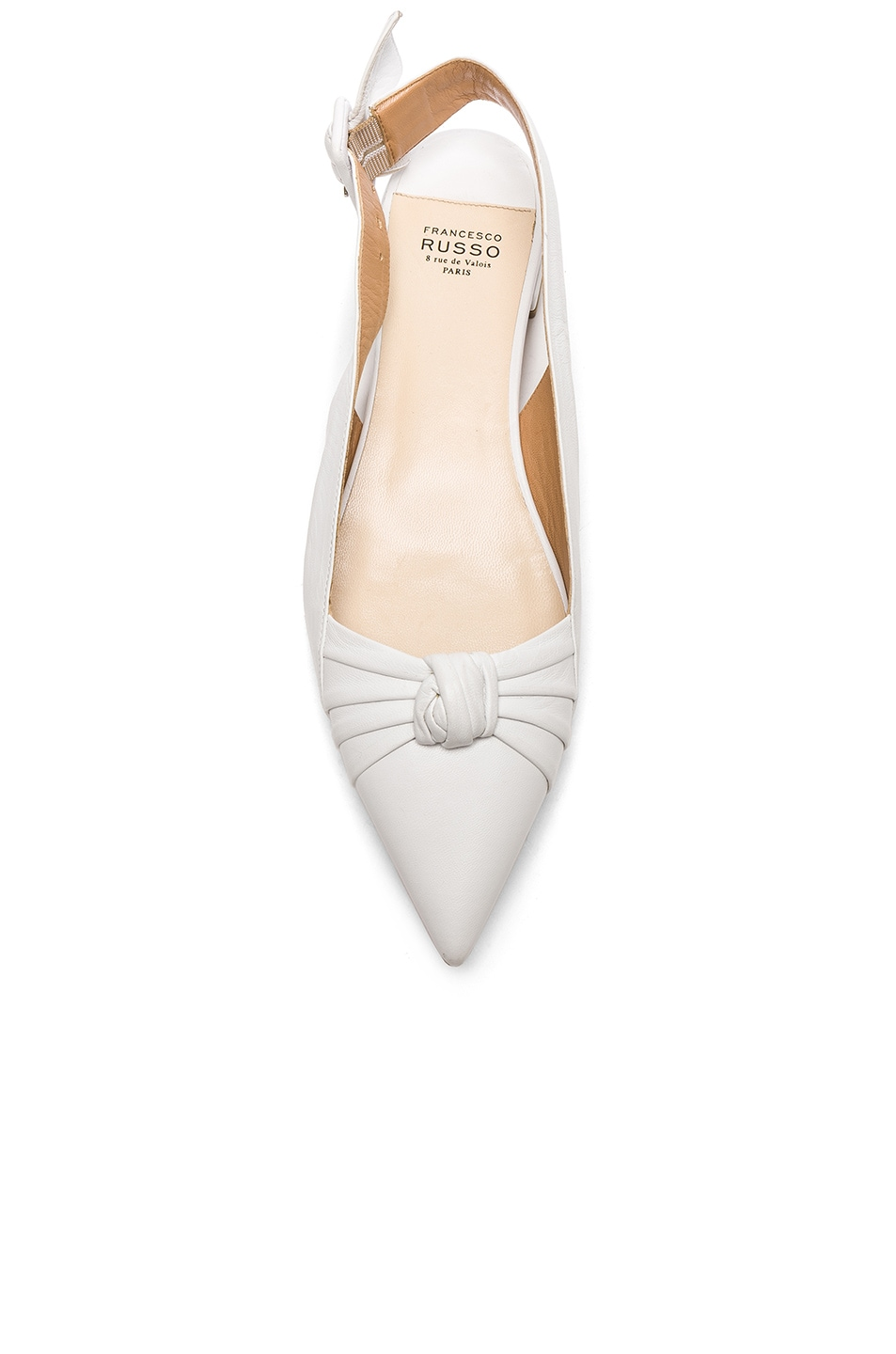 Image 4 of FRANCESCO RUSSO Slingback Flats in White