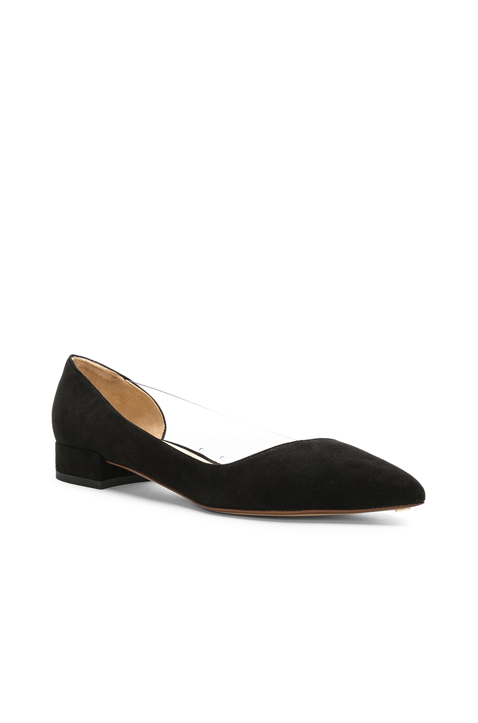 Image 2 of FRANCESCO RUSSO Suede & PVC Flats in Black
