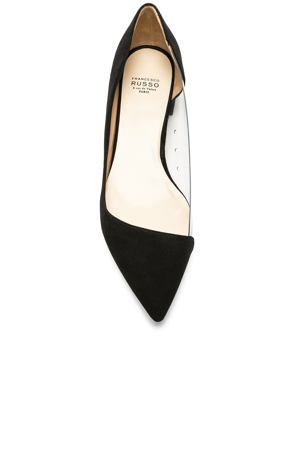 Image 4 of FRANCESCO RUSSO Suede & PVC Flats in Black