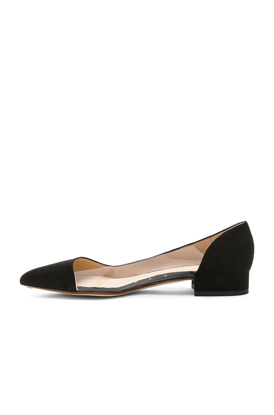 Image 5 of FRANCESCO RUSSO Suede & PVC Flats in Black