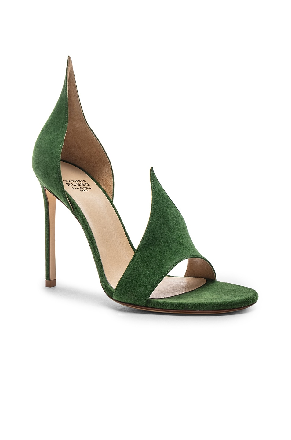 Image 2 of FRANCESCO RUSSO Flame Heels in Emerald Green
