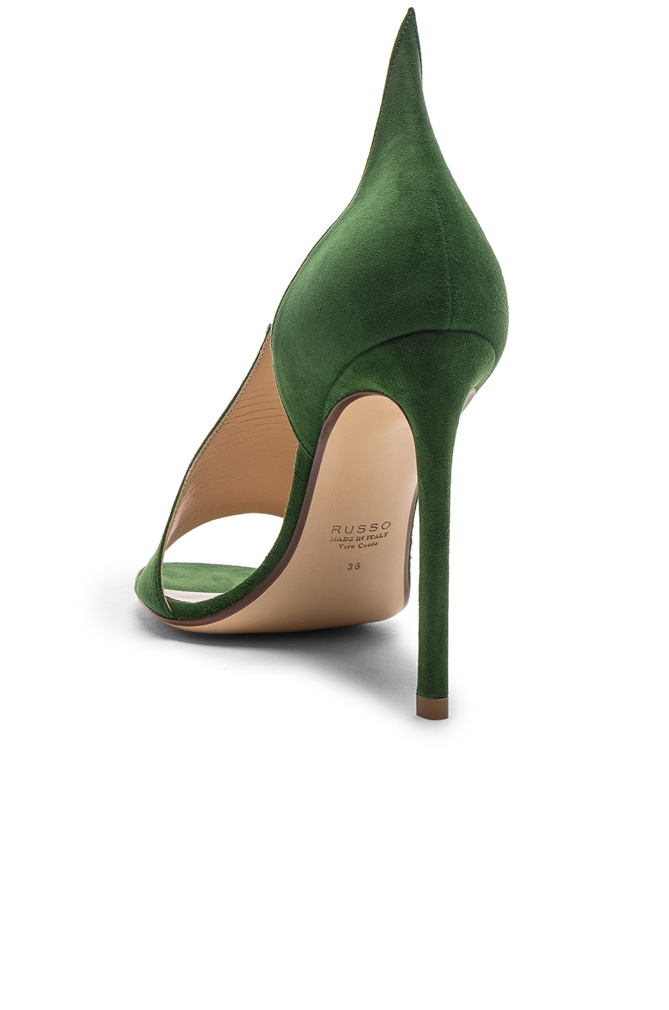 Image 3 of FRANCESCO RUSSO Flame Heels in Emerald Green