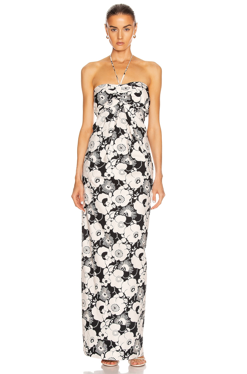 Image 1 of GEORGIA ALICE Valentina Shirt Gown in Black & Butter