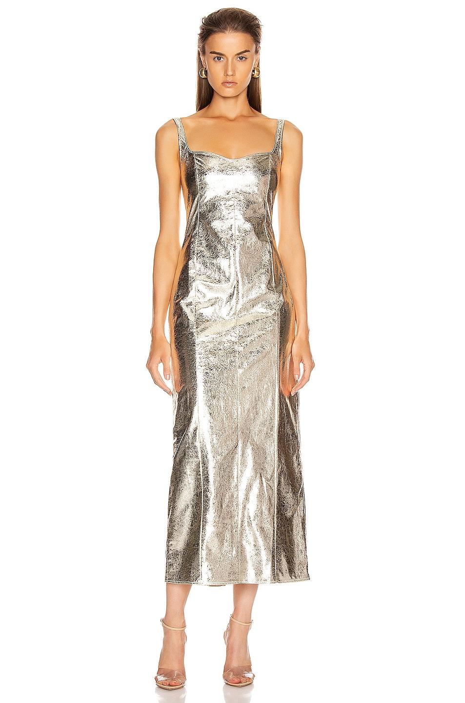 Image 1 of GEORGIA ALICE Vegas Corset Dress in Metallic Crinkle Gold