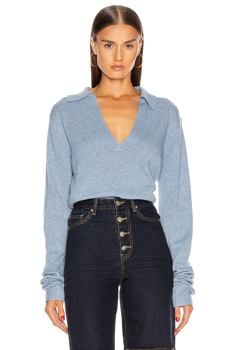 Image 1 of GEORGIA ALICE Long Sleeve Knit Polo in Heaven